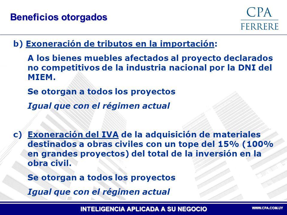 Beneficios otorgados b) Exoneración de tributos en la importación: