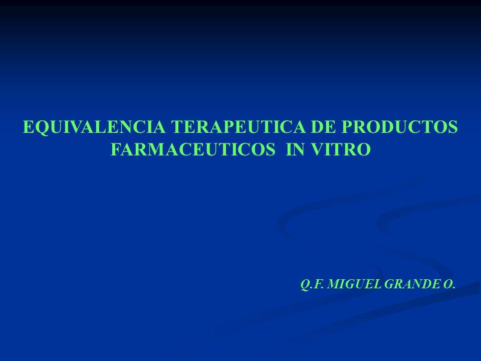 EQUIVALENCIA TERAPEUTICA DE PRODUCTOS FARMACEUTICOS IN VITRO