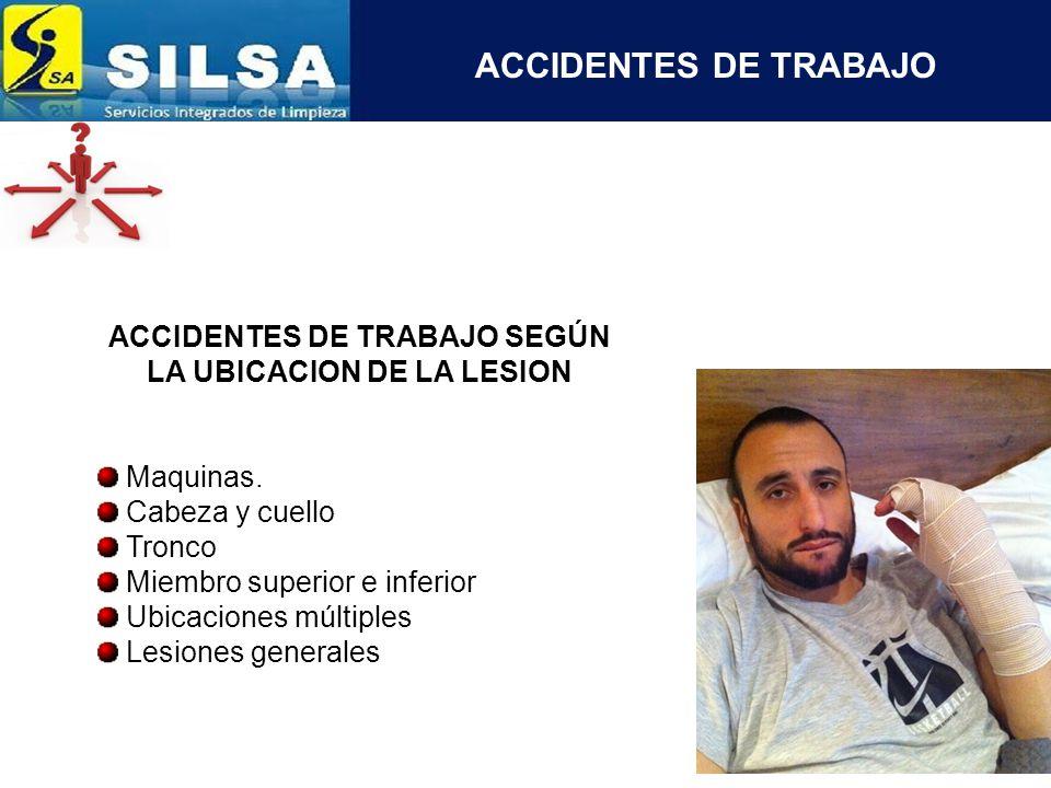 ACCIDENTES DE TRABAJO SEGÚN LA UBICACION DE LA LESION