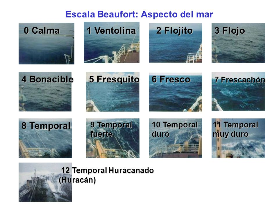 Escala Beaufort: Aspecto del mar