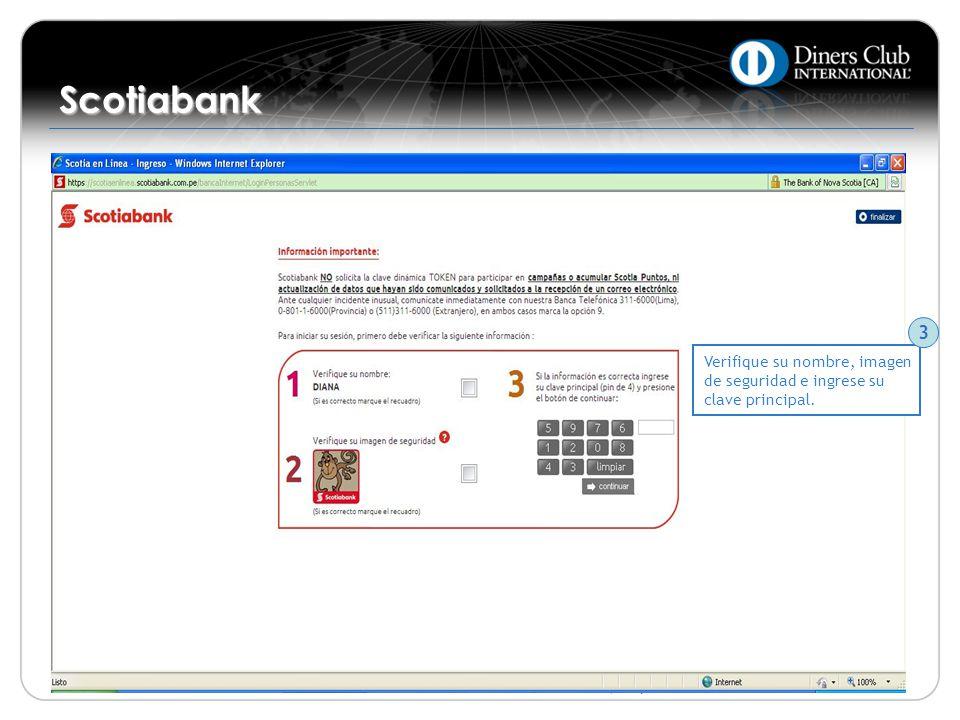 Scotiabank 3 Verifique su nombre, imagen de seguridad e ingrese su clave principal.