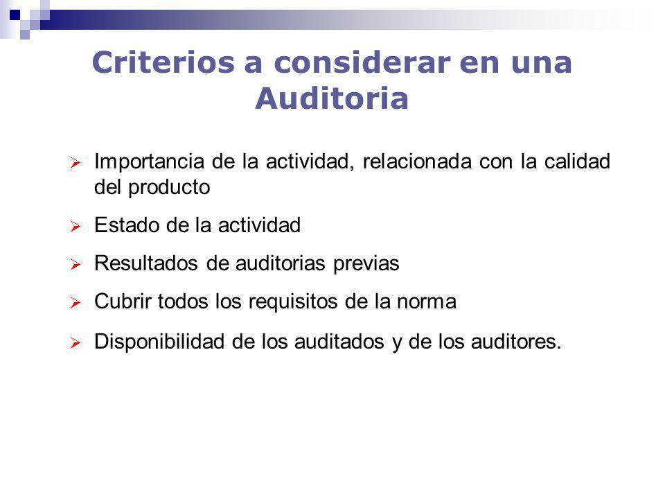 Criterios a considerar en una Auditoria