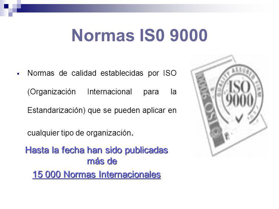 Normas IS0 9000 Hasta la fecha han sido publicadas más de