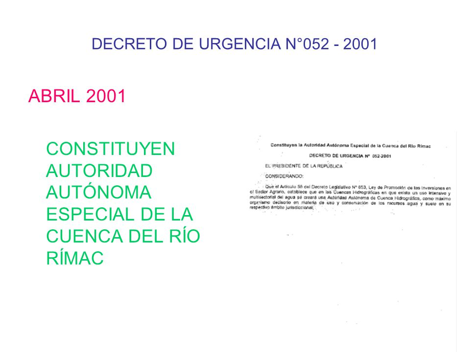 DECRETO DE URGENCIA N°052 - 2001