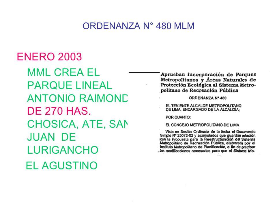 ORDENANZA N° 480 MLM ENERO 2003. MML CREA EL PARQUE LINEAL ANTONIO RAIMONDI DE 270 HAS. CHOSICA, ATE, SAN JUAN DE LURIGANCHO.