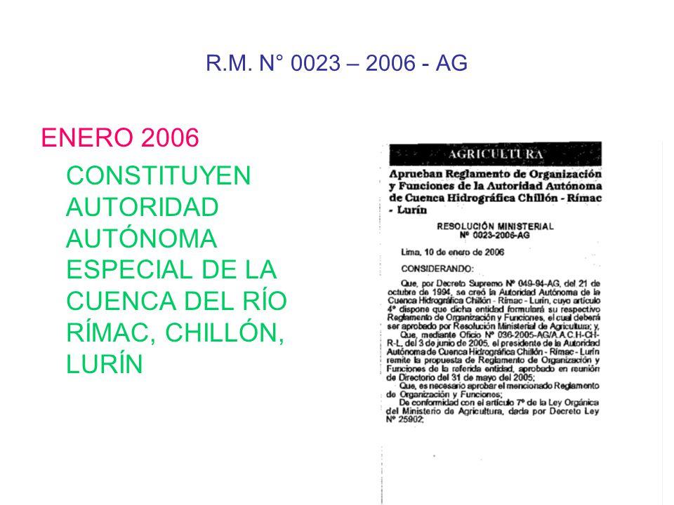 R.M. N° 0023 – 2006 - AG ENERO 2006.