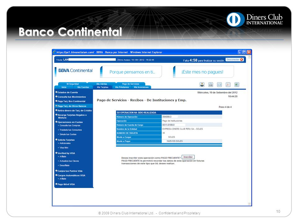 Banco Continental ©2004 Diners Club International Ltd. All rights reserved.