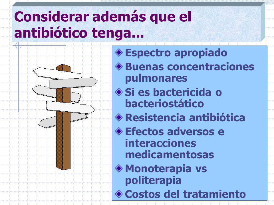 Considerar además que el antibiótico tenga...