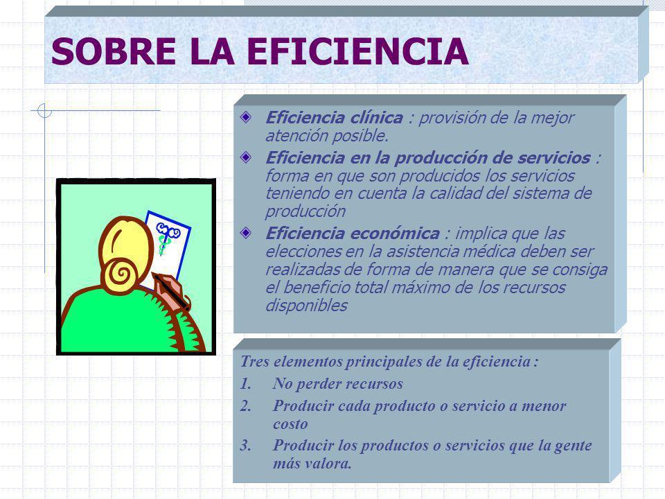 SOBRE LA EFICIENCIA Eficiencia clínica : provisión de la mejor atención posible.