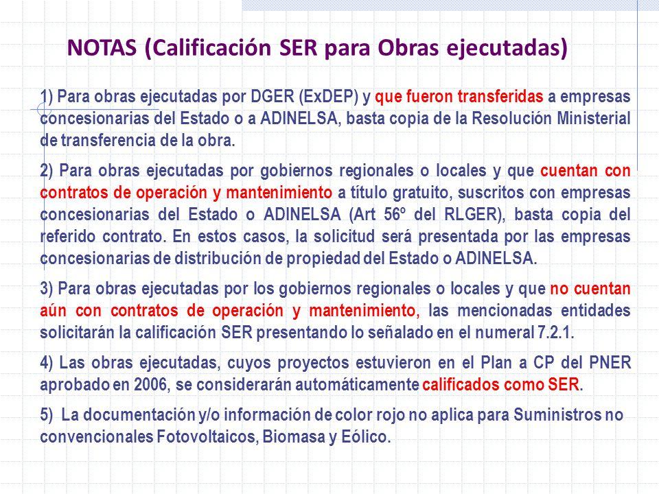 NOTAS (Calificación SER para Obras ejecutadas)