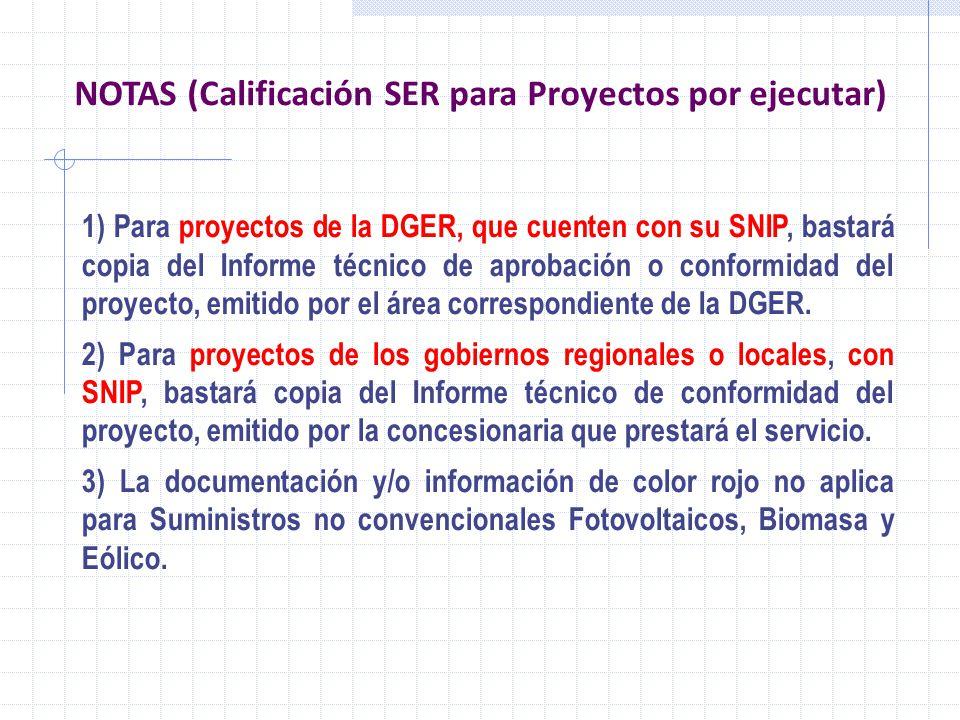 NOTAS (Calificación SER para Proyectos por ejecutar)