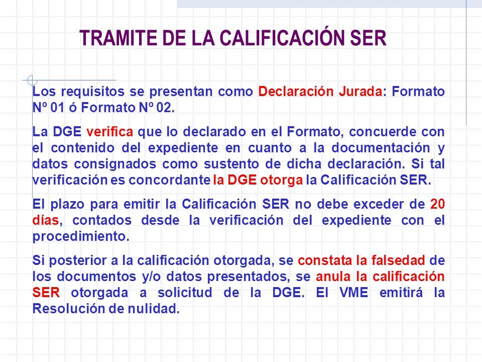 TRAMITE DE LA CALIFICACIÓN SER