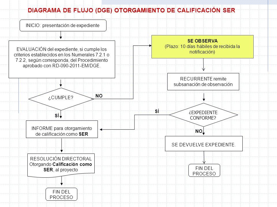 DIAGRAMA DE FLUJO (DGE) OTORGAMIENTO DE CALIFICACIÓN SER