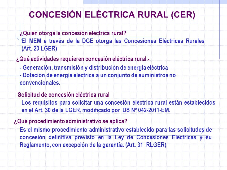 CONCESIÓN ELÉCTRICA RURAL (CER)