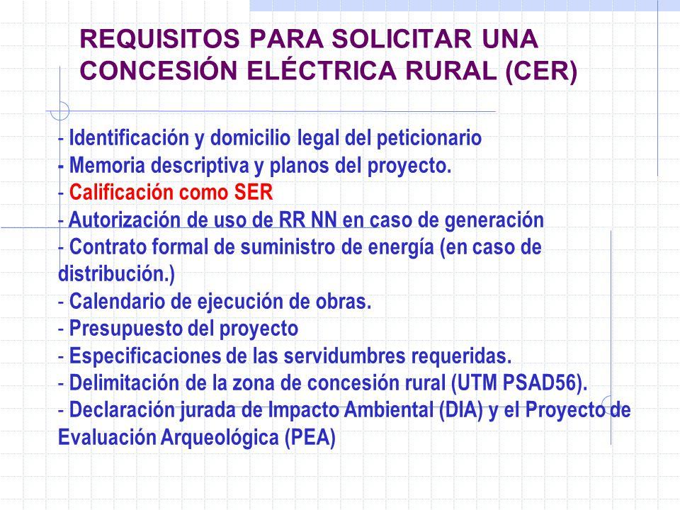 REQUISITOS PARA SOLICITAR UNA CONCESIÓN ELÉCTRICA RURAL (CER)