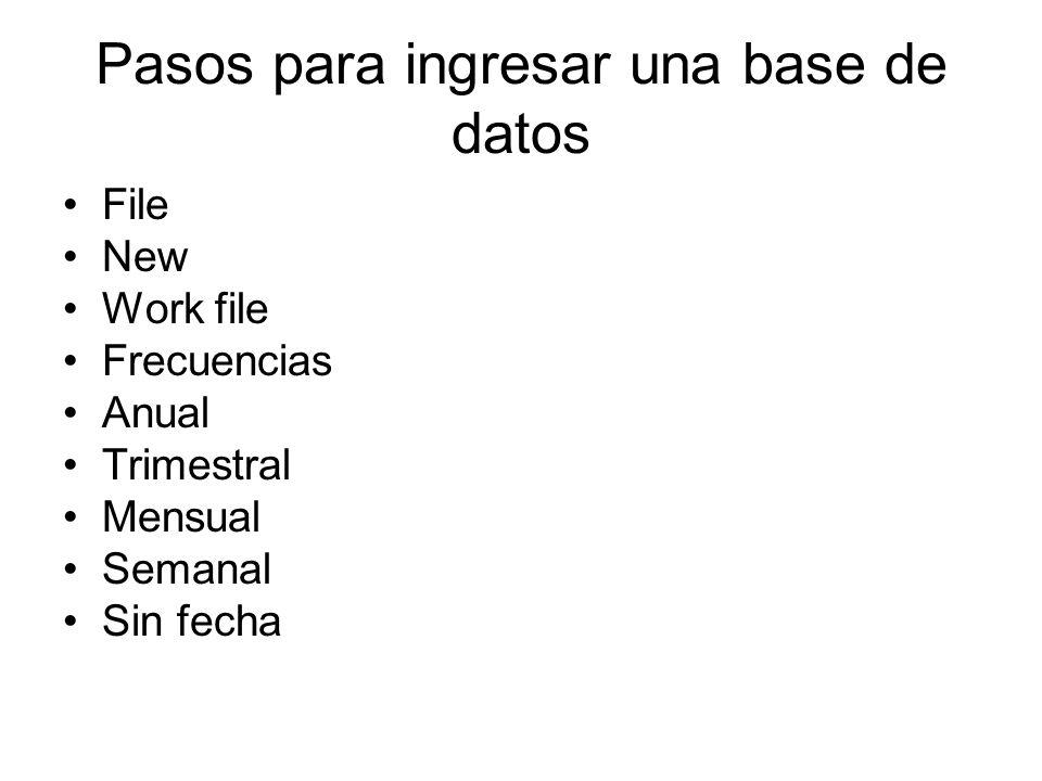 Pasos para ingresar una base de datos