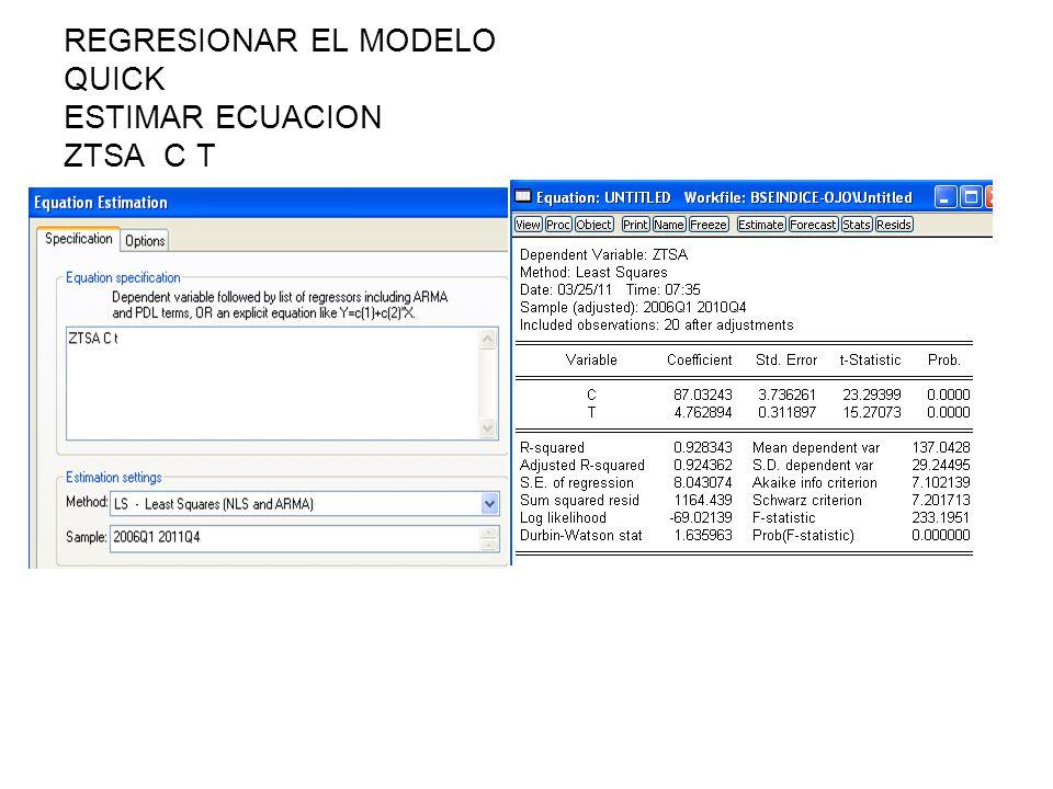 REGRESIONAR EL MODELO QUICK ESTIMAR ECUACION ZTSA C T