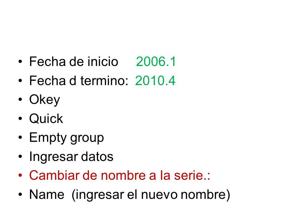 Fecha de inicio 2006.1 Fecha d termino: 2010.4. Okey. Quick. Empty group. Ingresar datos. Cambiar de nombre a la serie.: