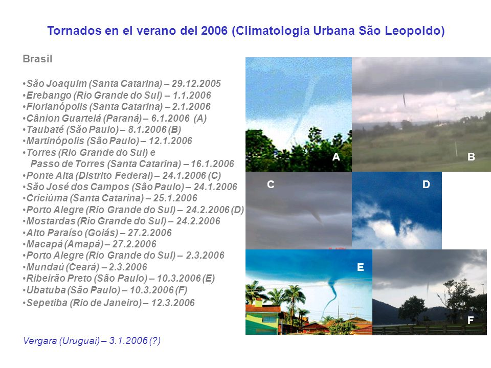 Tornados en el verano del 2006 (Climatologia Urbana São Leopoldo)