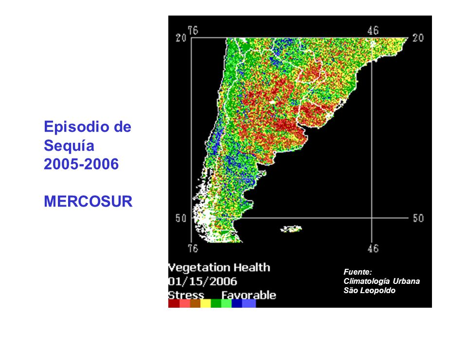 Episodio de Sequía 2005-2006 MERCOSUR Fuente: Climatología Urbana