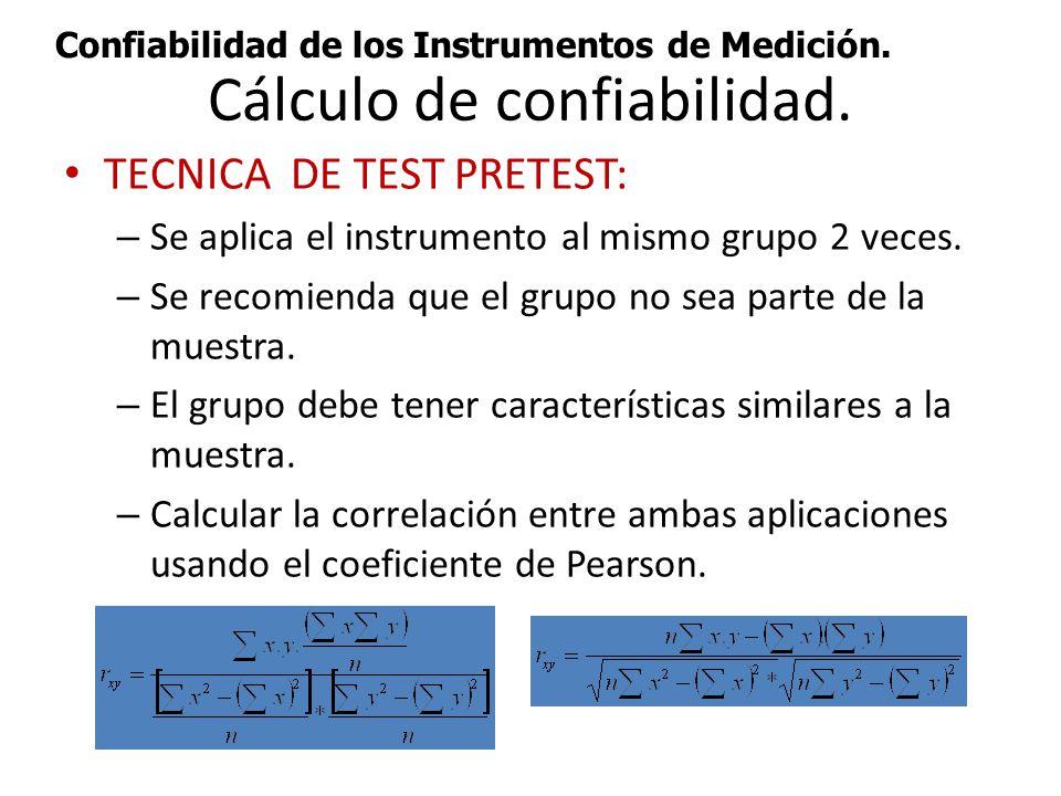Cálculo de confiabilidad.