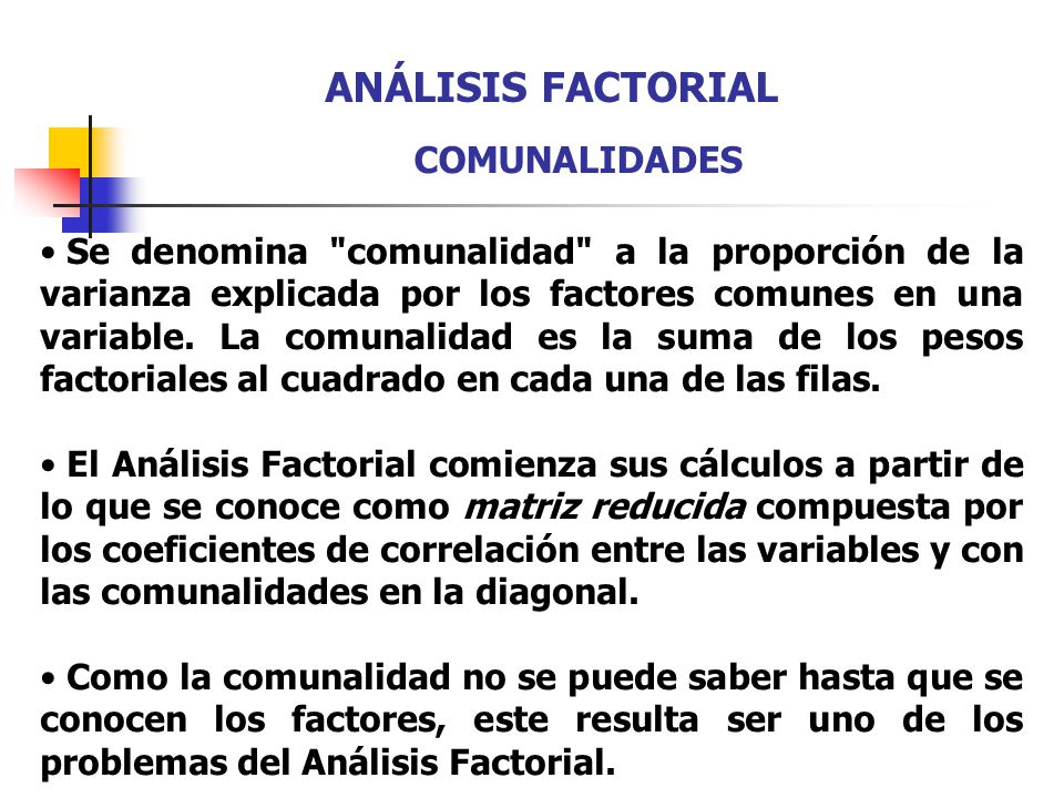 ANÁLISIS FACTORIAL COMUNALIDADES