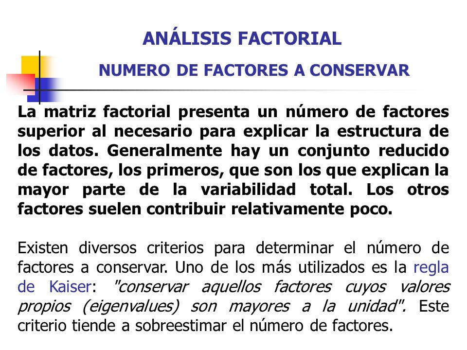 ANÁLISIS FACTORIAL NUMERO DE FACTORES A CONSERVAR