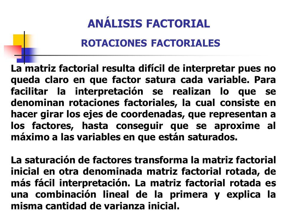 ANÁLISIS FACTORIAL ROTACIONES FACTORIALES