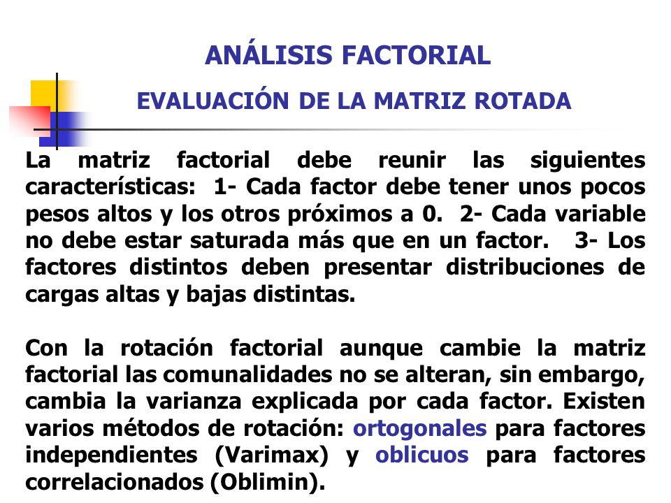 ANÁLISIS FACTORIAL EVALUACIÓN DE LA MATRIZ ROTADA