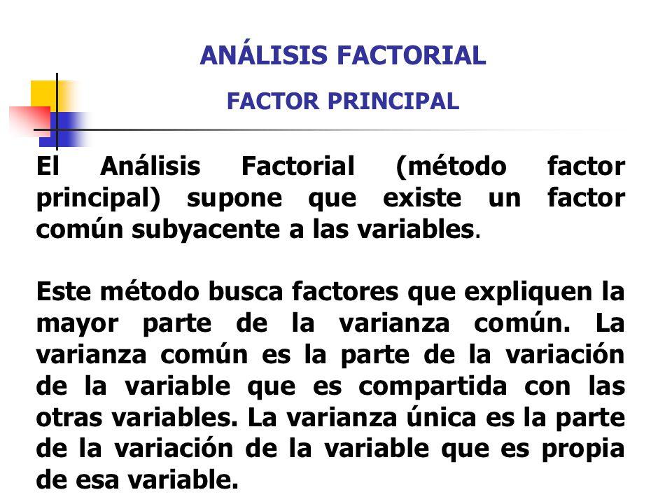ANÁLISIS FACTORIAL FACTOR PRINCIPAL. El Análisis Factorial (método factor principal) supone que existe un factor común subyacente a las variables.