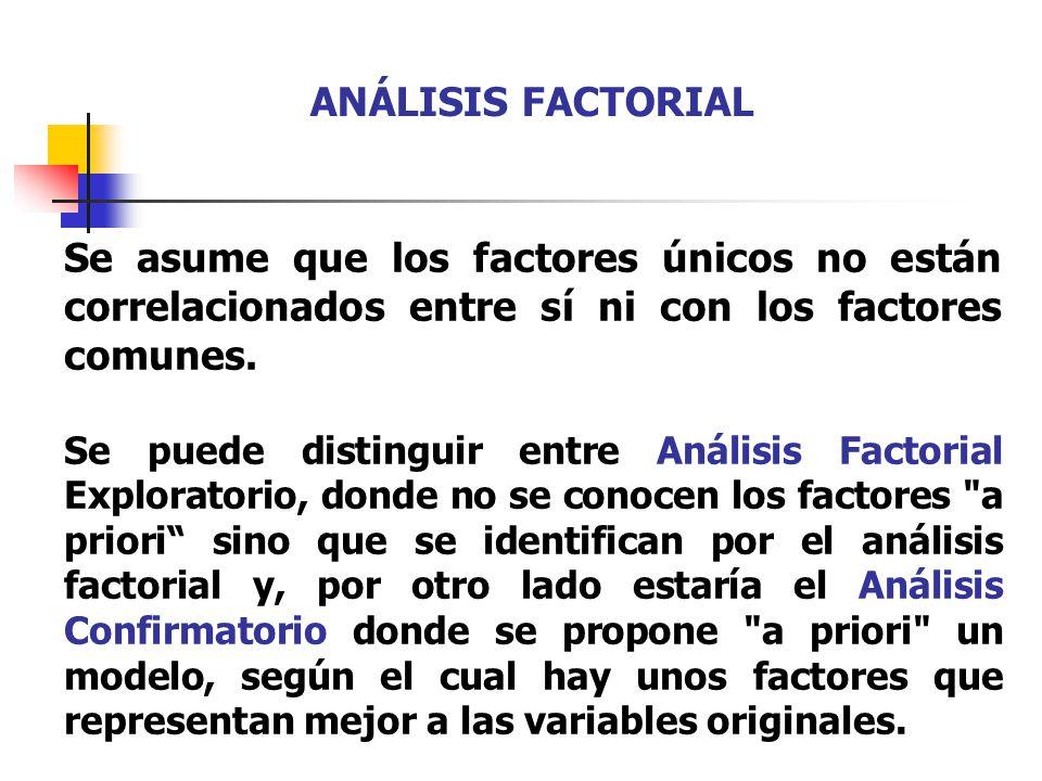 ANÁLISIS FACTORIAL Se asume que los factores únicos no están correlacionados entre sí ni con los factores comunes.