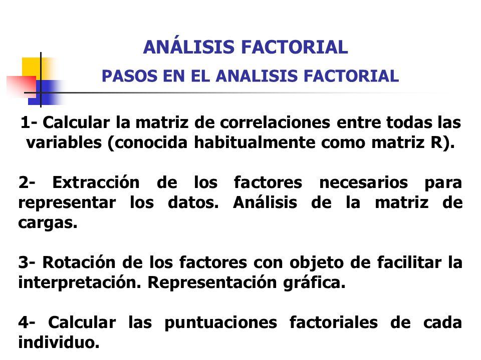 ANÁLISIS FACTORIAL PASOS EN EL ANALISIS FACTORIAL