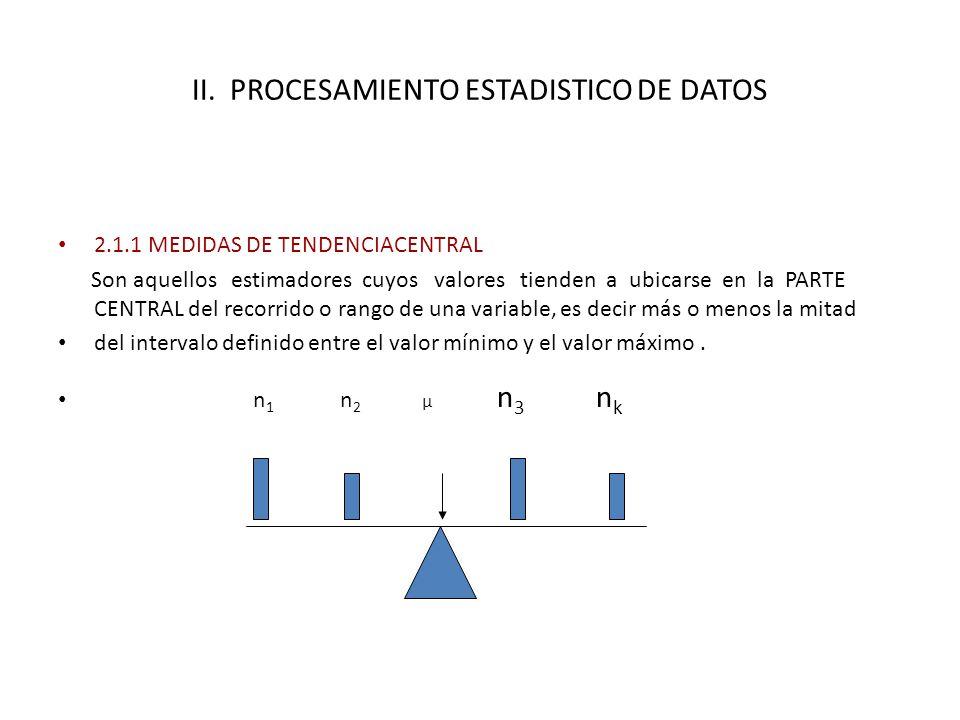 II. PROCESAMIENTO ESTADISTICO DE DATOS