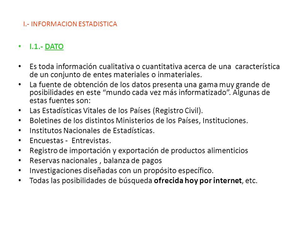 I.- INFORMACION ESTADISTICA