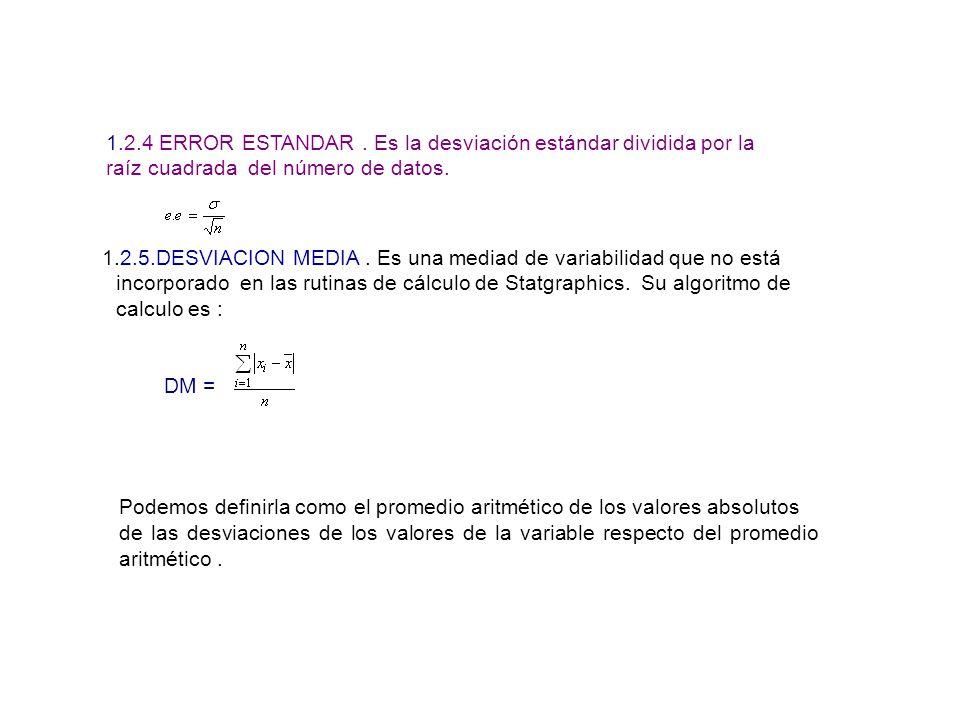 1.2.4 ERROR ESTANDAR . Es la desviación estándar dividida por la raíz cuadrada del número de datos.