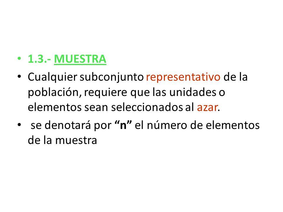 1.3.- MUESTRA Cualquier subconjunto representativo de la población, requiere que las unidades o elementos sean seleccionados al azar.
