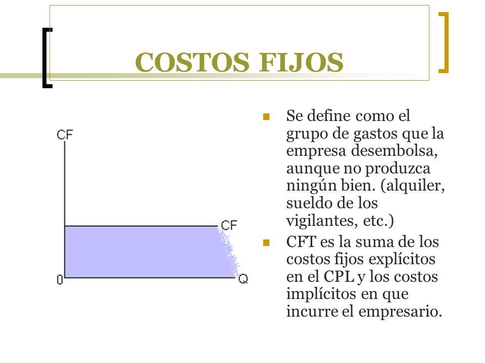 COSTOS FIJOS Se define como el grupo de gastos que la empresa desembolsa, aunque no produzca ningún bien. (alquiler, sueldo de los vigilantes, etc.)
