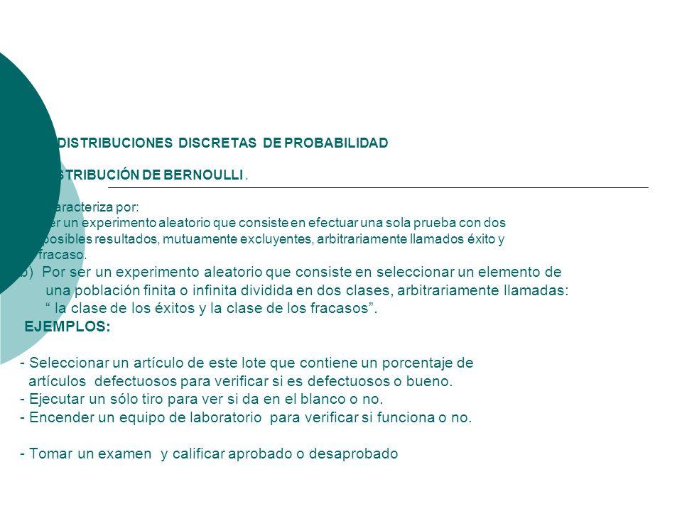 4. 0 DISTRIBUCIONES DISCRETAS DE PROBABILIDAD 4