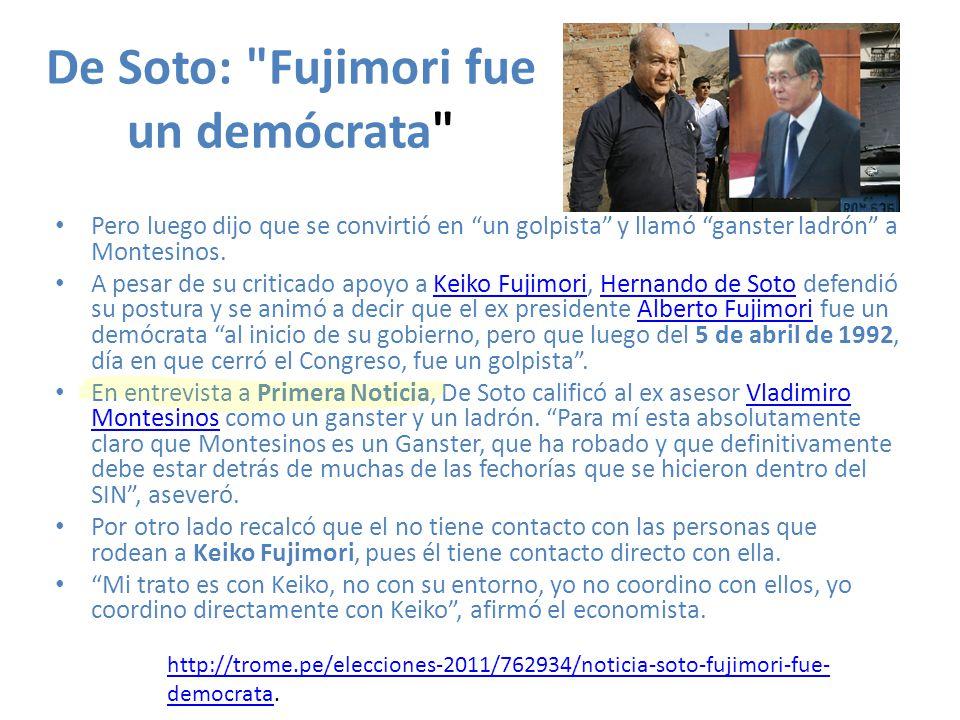 De Soto: Fujimori fue un demócrata