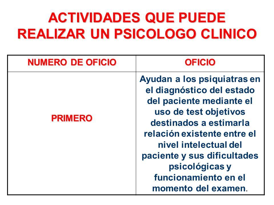 ACTIVIDADES QUE PUEDE REALIZAR UN PSICOLOGO CLINICO