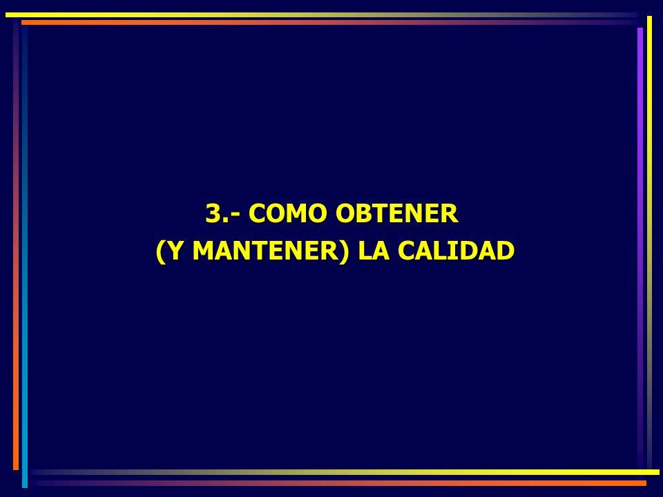 3.- COMO OBTENER (Y MANTENER) LA CALIDAD