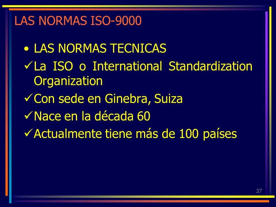 LAS NORMAS ISO-9000 LAS NORMAS TECNICAS. La ISO o International Standardization Organization. Con sede en Ginebra, Suiza.