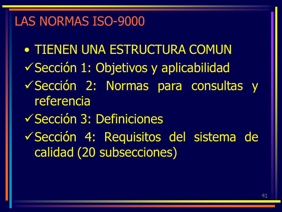 LAS NORMAS ISO-9000 TIENEN UNA ESTRUCTURA COMUN. Sección 1: Objetivos y aplicabilidad. Sección 2: Normas para consultas y referencia.