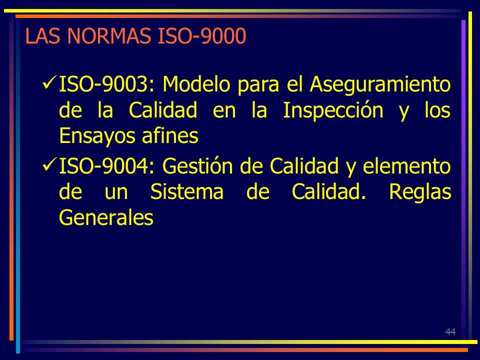 LAS NORMAS ISO-9000 ISO-9003: Modelo para el Aseguramiento de la Calidad en la Inspección y los Ensayos afines.
