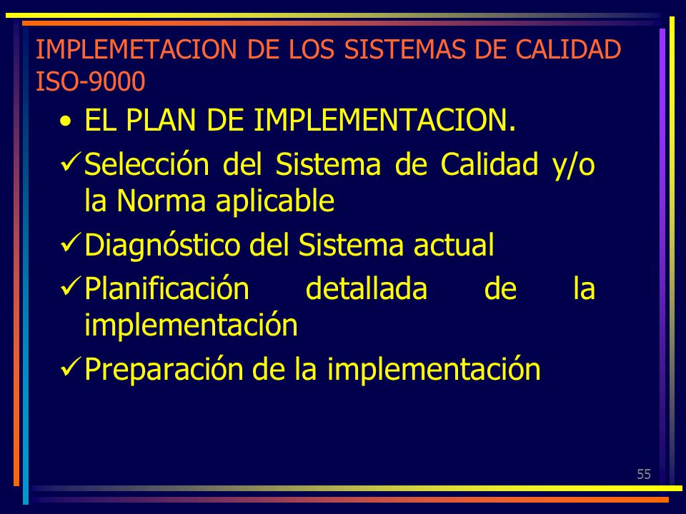 IMPLEMETACION DE LOS SISTEMAS DE CALIDAD ISO-9000