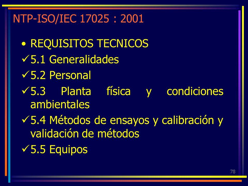 NTP-ISO/IEC 17025 : 2001 REQUISITOS TECNICOS. 5.1 Generalidades. 5.2 Personal. 5.3 Planta física y condiciones ambientales.