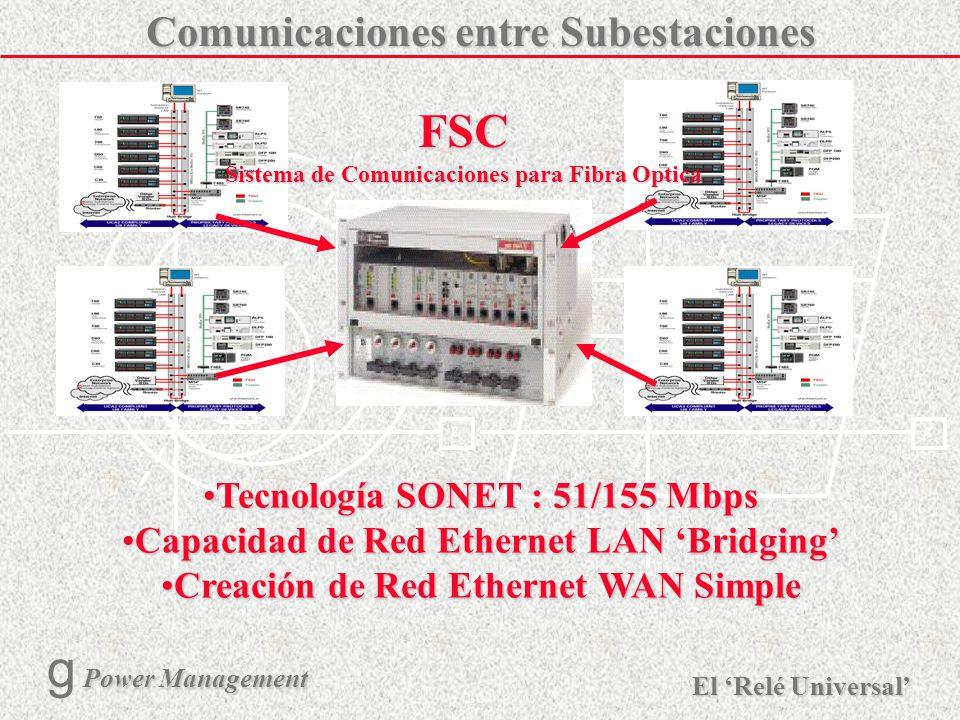 FSC Comunicaciones entre Subestaciones Tecnología SONET : 51/155 Mbps