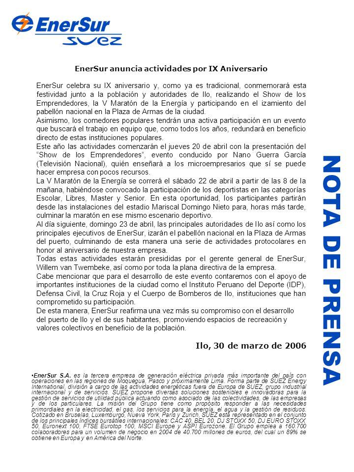 EnerSur anuncia actividades por IX Aniversario
