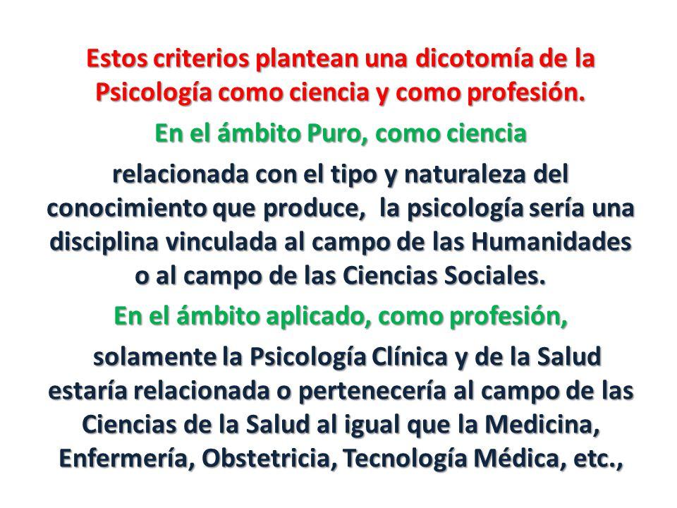 Estos criterios plantean una dicotomía de la Psicología como ciencia y como profesión.