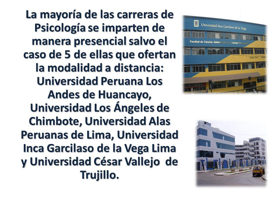 La mayoría de las carreras de Psicología se imparten de manera presencial salvo el caso de 5 de ellas que ofertan la modalidad a distancia: Universidad Peruana Los Andes de Huancayo, Universidad Los Ángeles de Chimbote, Universidad Alas Peruanas de Lima, Universidad Inca Garcilaso de la Vega Lima y Universidad César Vallejo de Trujillo.